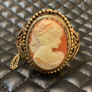 VTG Victorian Revival Gold Lady Brooch Bracelet